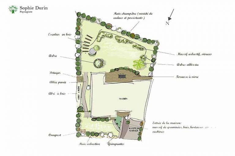 Esquisse jardin anglais Essonne paysagiste Sophie Durin