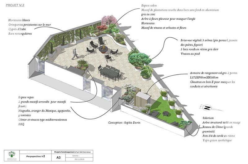 Terrasse design contemporaine. Outdoor 140m2. Orsay (91)