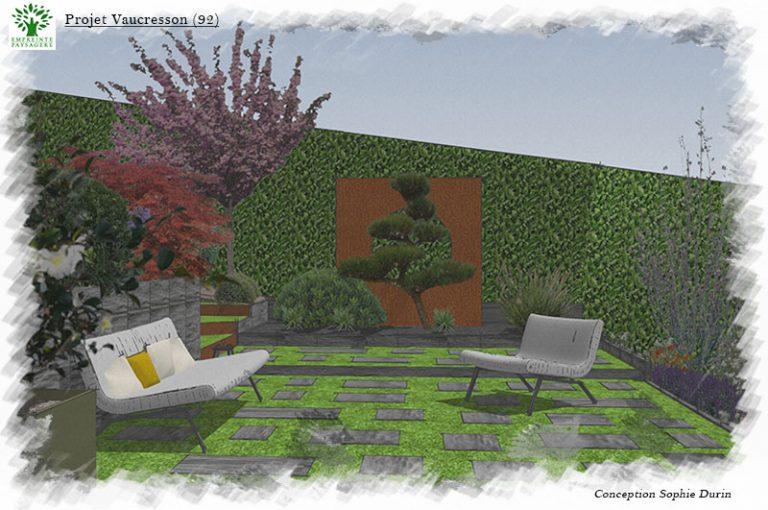 Esquisse Projet Jardin Panneau Corten Oculus Vaucresson Sophie Durin Paysagiste 92